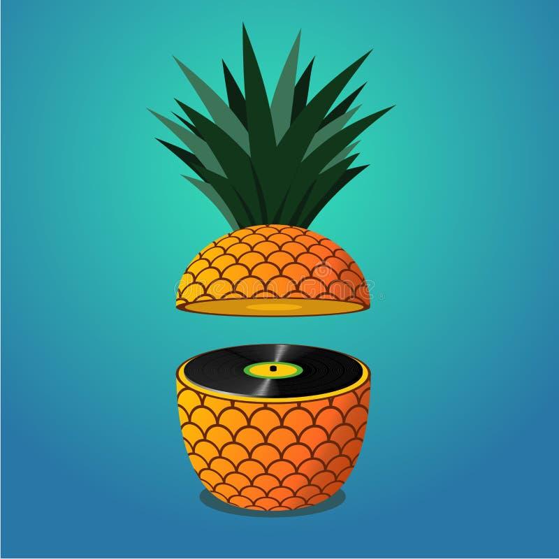 Partido da música do verão Ilustração com o disco do abacaxi e do vinil ilustração royalty free