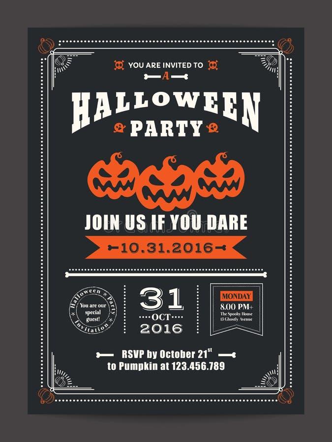 Partido da noite de Dia das Bruxas com fundo assustador das abóboras para o inseto do cartaz do cartão ilustração do vetor