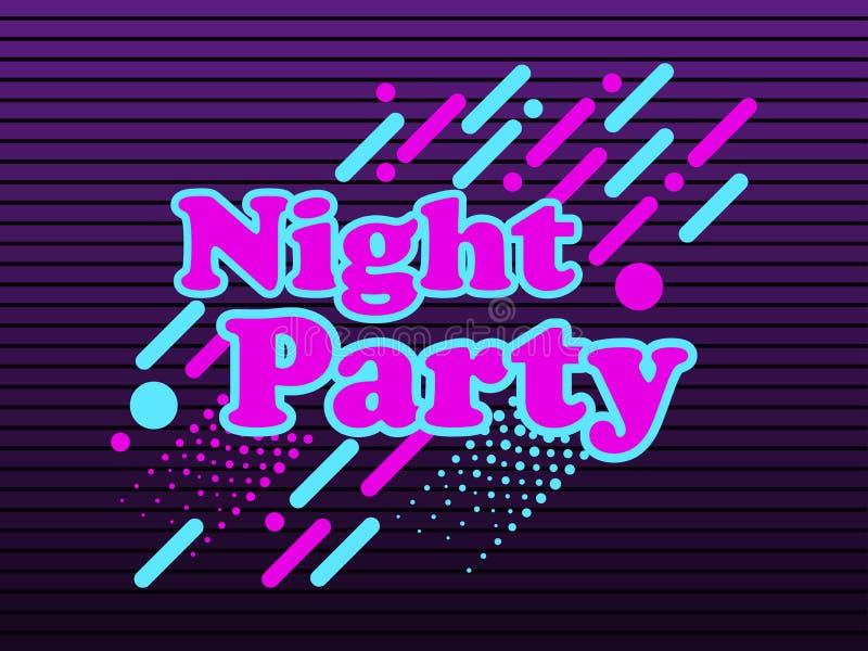 Partido da noite, fundo abstrato ao estilo 80 do ` s, com elementos geométricos, pontos e linhas pontilhadas ilustração stock