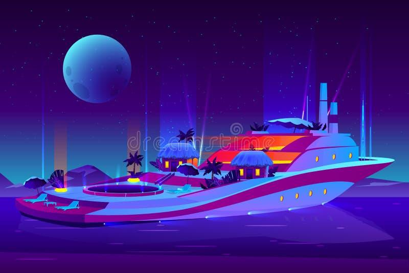 Partido da noite no vetor futuro do navio de cruzeiros ilustração do vetor