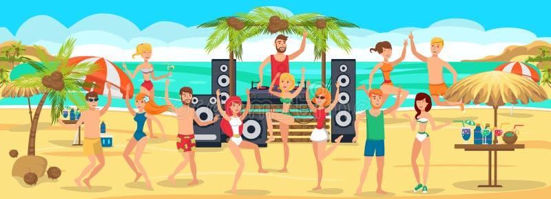 partido da praia Danças e bebidas da juventude na praia ilustração royalty free