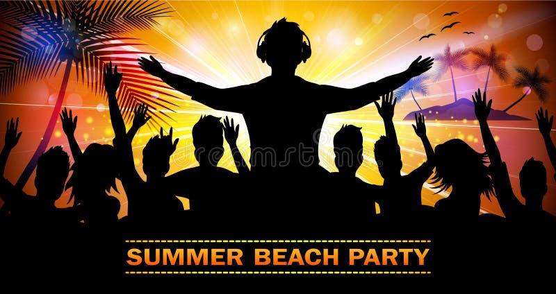 Partido da praia do verão com silhuetas da dança ilustração stock
