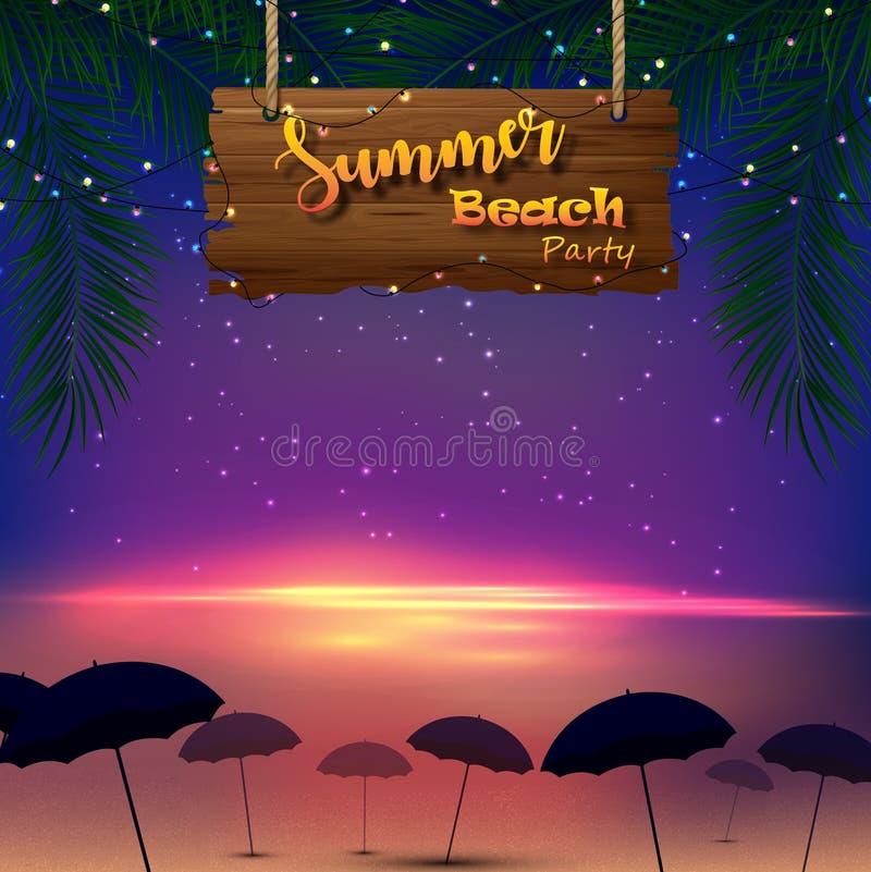 Partido da praia do verão Palmeiras tropicais com um sinal de madeira e muitos guarda-chuvas na praia ilustração stock