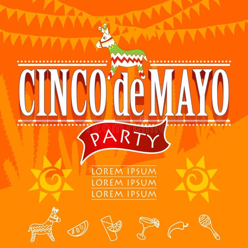 Partido de Cinco de Mayo ilustração stock