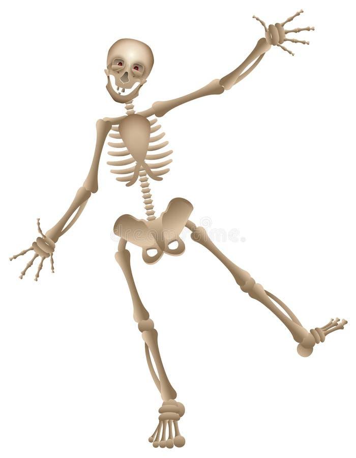 Partido de dança de esqueleto humano do Dia das Bruxas dos desenhos animados do vetor ilustração stock