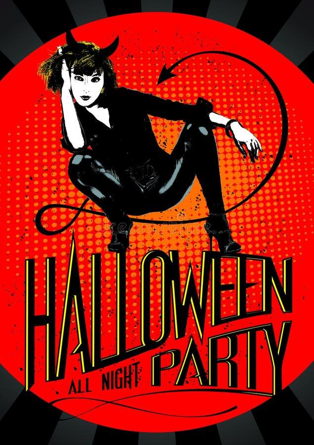Partido de Dia das Bruxas da mulher do diabo ilustração royalty free