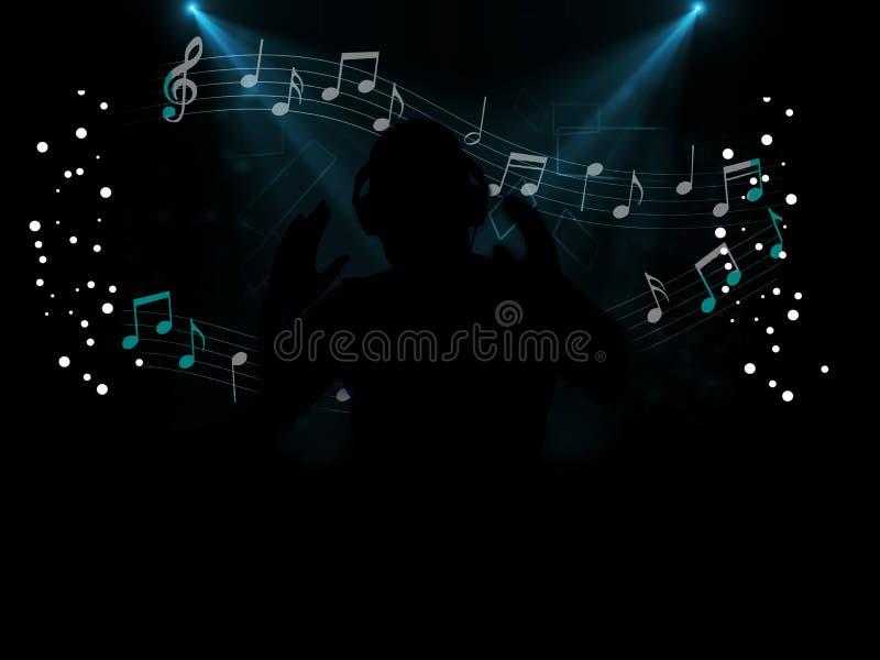Partido de disco do DJ na noite ilustração do vetor