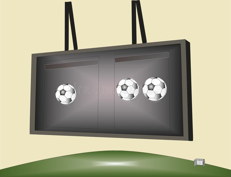 Partido de fútbol en el marcador foto de archivo libre de regalías