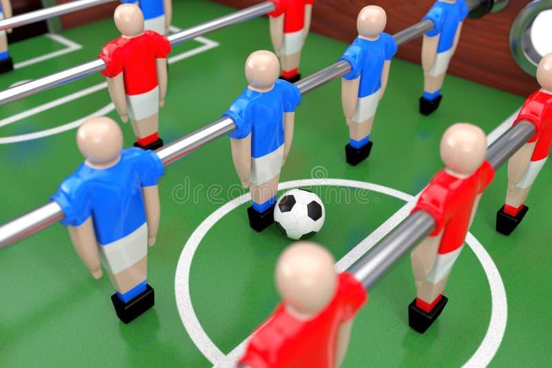 Partido de fútbol de la tabla del fútbol representación 3d stock de ilustración