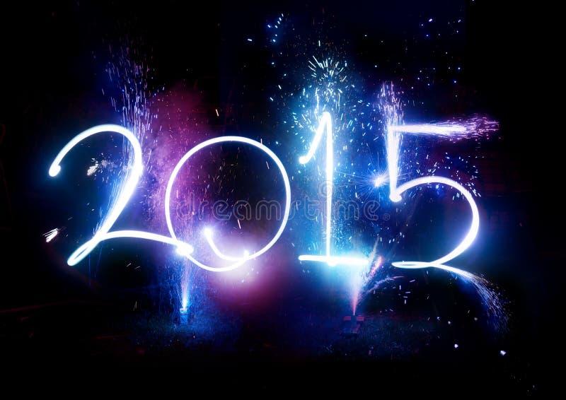 ¡Partido de 2015 fuegos artificiales - exhibición del Año Nuevo! fotografía de archivo libre de regalías