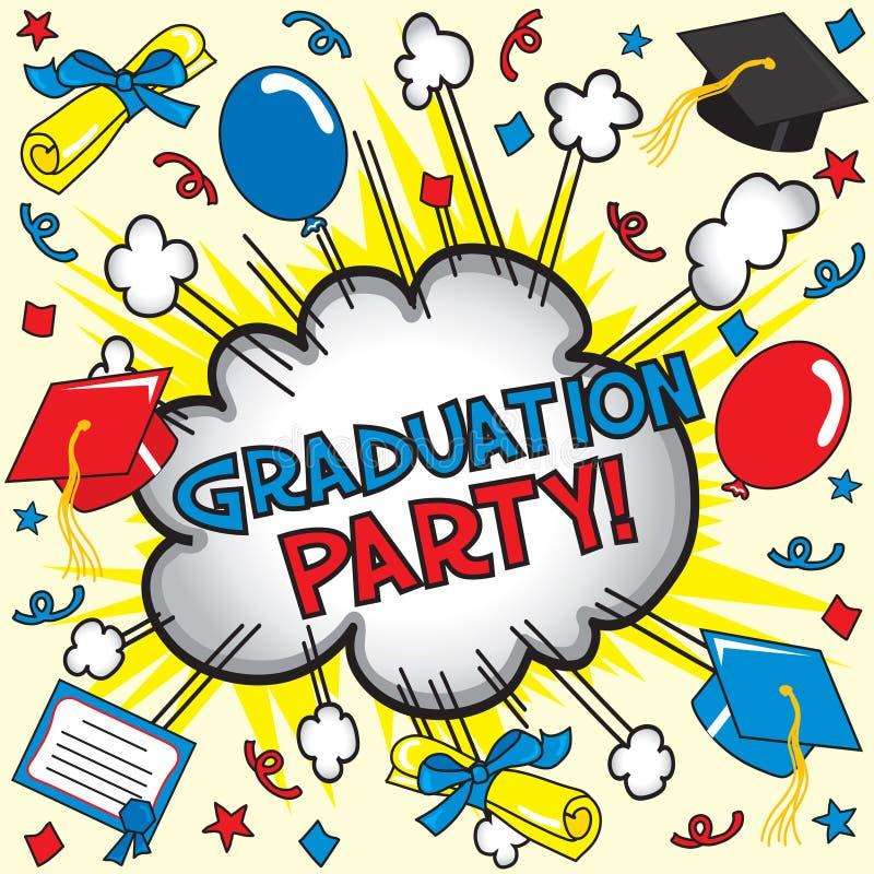 Partido de graduação! ilustração stock