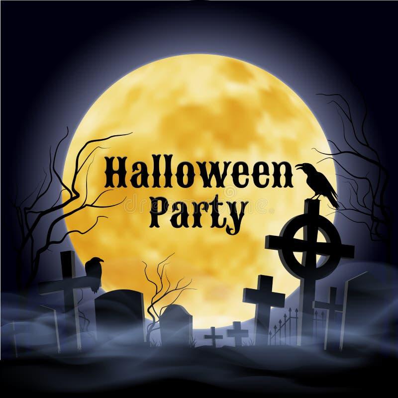 Partido de Halloween en un cementerio fantasmagórico debajo de la Luna Llena ilustración del vector