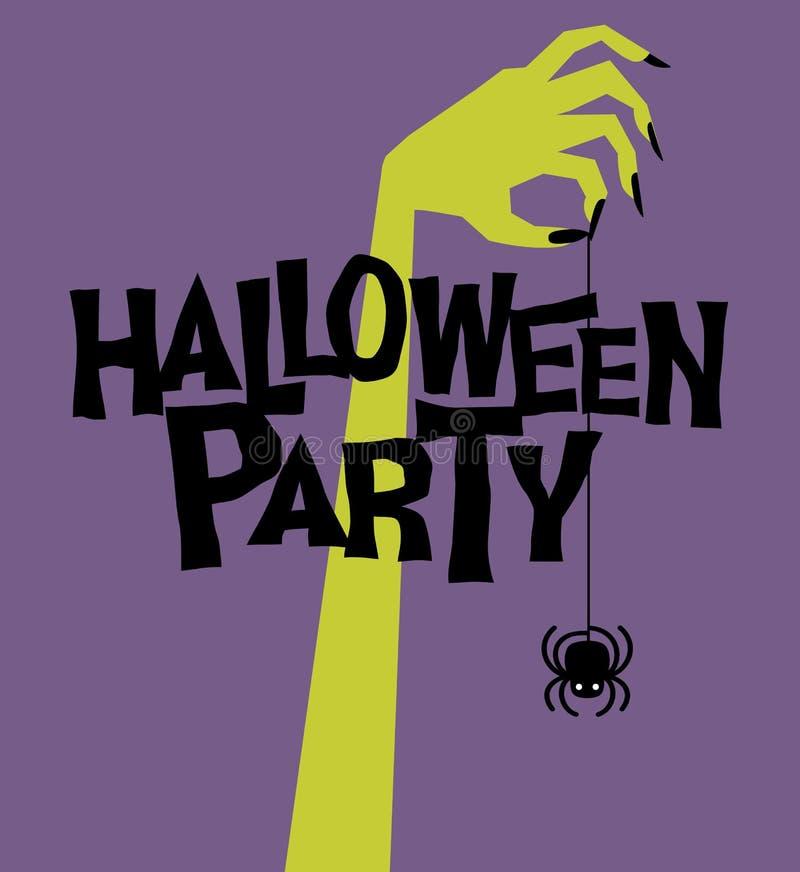 Partido de Halloween Mão retro do zombi que guarda a aranha de balanço assustador ilustração stock