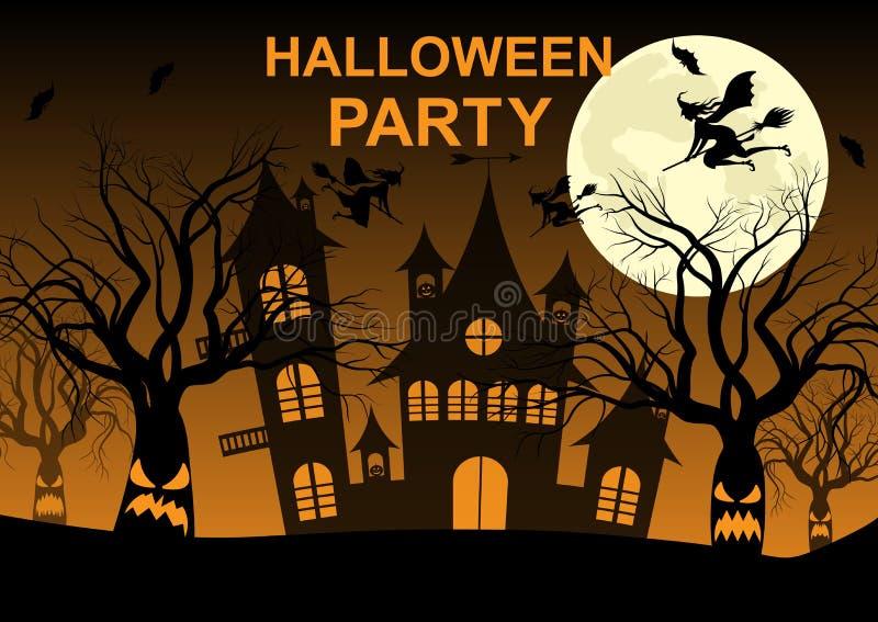 Partido de Halloween, noche, luna, árboles espeluznantes, calabaza, palos, brujas ilustración del vector