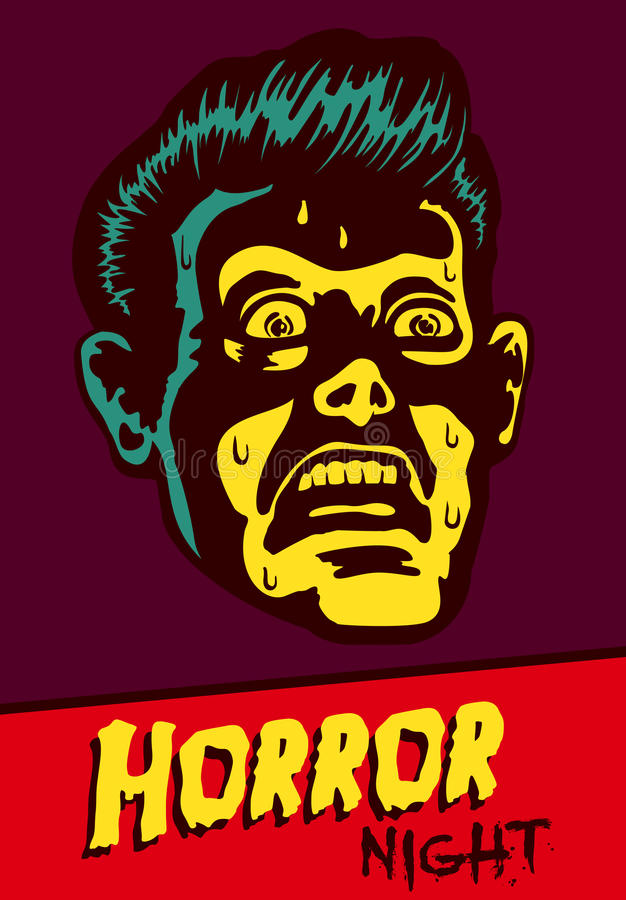 Partido de Halloween o diseño del aviador del evento de la noche de película con el hombre aterrorizado del vintage ilustración del vector