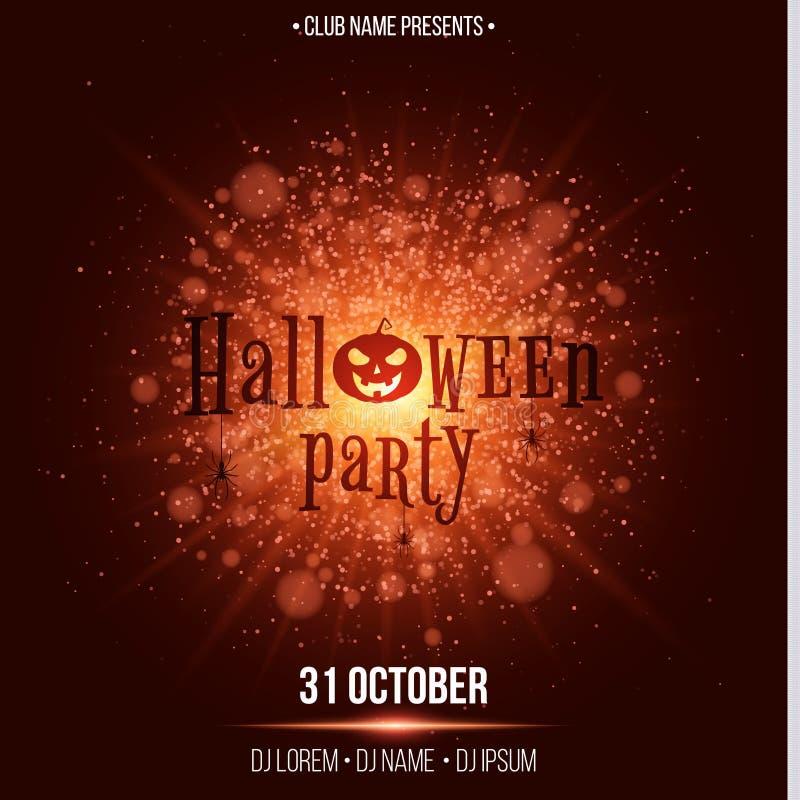 Partido de Halloween Texto ao estilo de Horor Flash brilhante abstrato da luz com luzes vermelhas Abóbora e aranhas pretas Nomes  ilustração do vetor