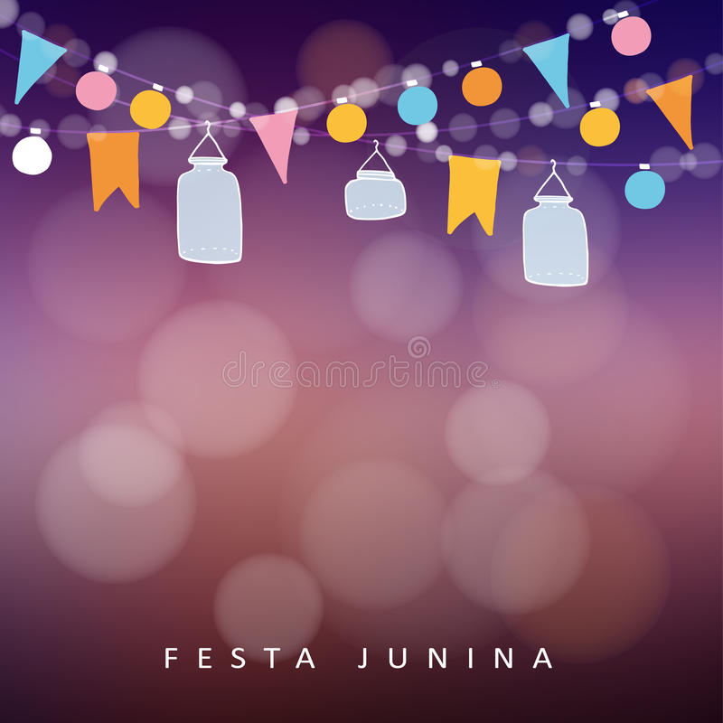 Partido de junio del brasileño, junina del festa Cadena de luces, linternas del tarro ilustración del vector