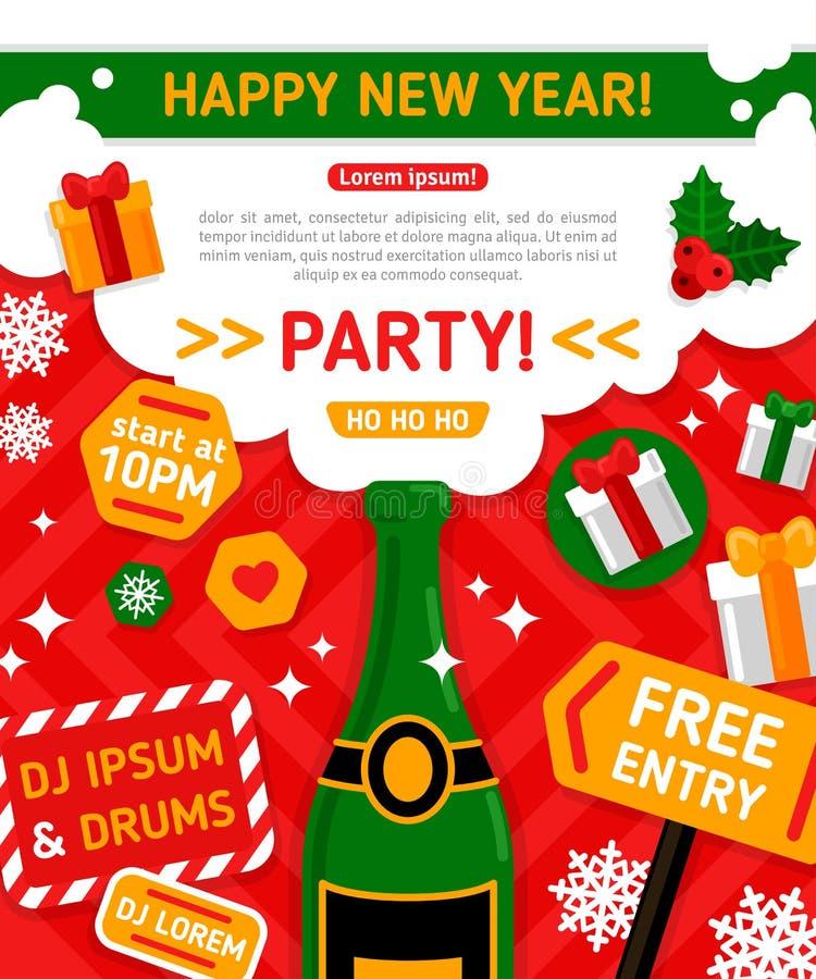 Partido de la Feliz Navidad y de la Feliz Año Nuevo stock de ilustración