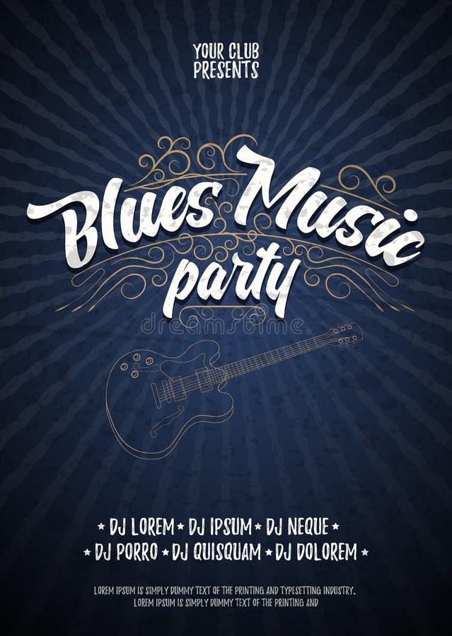 Partido de la música de los azules Plantilla del grunge del fondo del cartel Aviador o cartel tipográfico dibujado mano Diseño de stock de ilustración