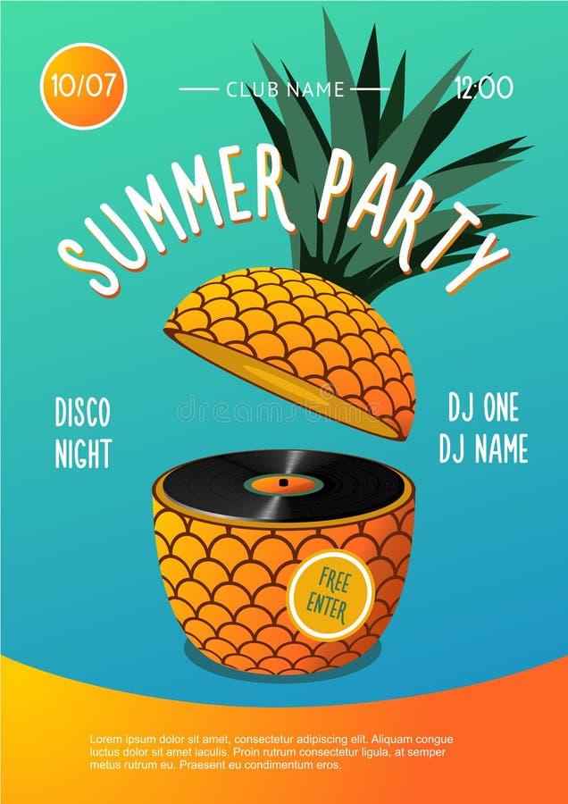 partido de la playa Festival de música del verano Cartel con el disco de la piña y del vinilo libre illustration