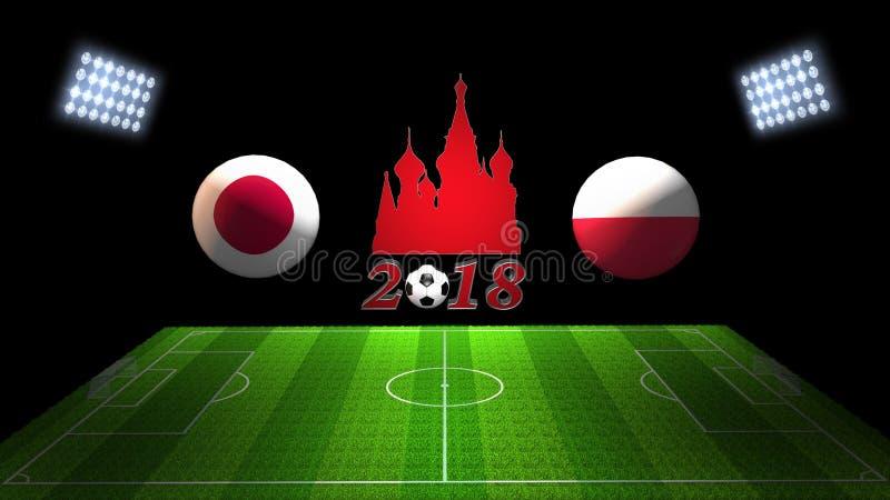Partido 2018 de la taza del fútbol del mundo en Rusia: Japón contra Polonia, en 3D imagen de archivo libre de regalías