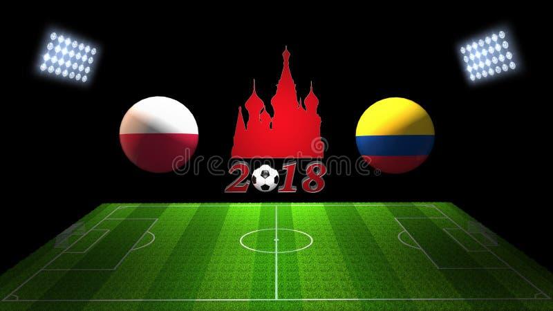 Partido 2018 de la taza del fútbol del mundo en Rusia: Polonia; Colombia, en 3D imagen de archivo