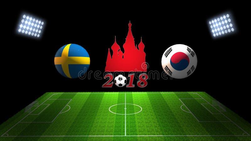 Partido 2018 de la taza del fútbol del mundo en Rusia: Suecia contra Corea del Sur, fotografía de archivo libre de regalías
