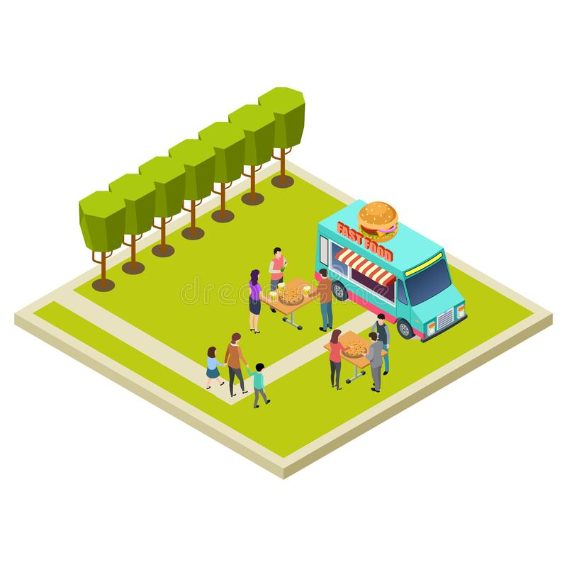 Partido de la vecindad en el parque con la ubicación isométrica del vector de las hamburguesas libre illustration