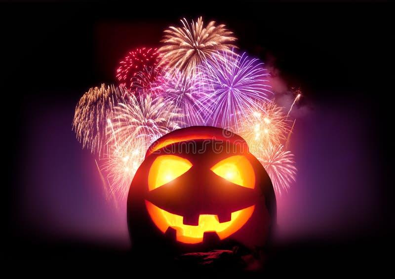 Partido de los fuegos artificiales de Halloween imagenes de archivo