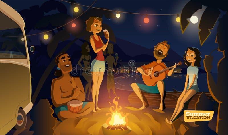 Partido de noite na baía ilustração royalty free