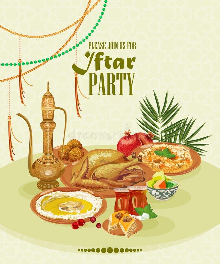 Partido de Ramadan Kareem Iftar ilustração royalty free
