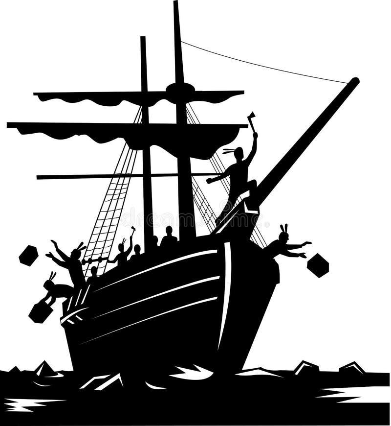 Partido de té de Boston ilustración del vector
