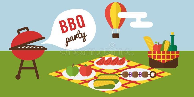 Partido del Bbq El cocinar de la barbacoa y de la parrilla Diseño plano ilustración del vector