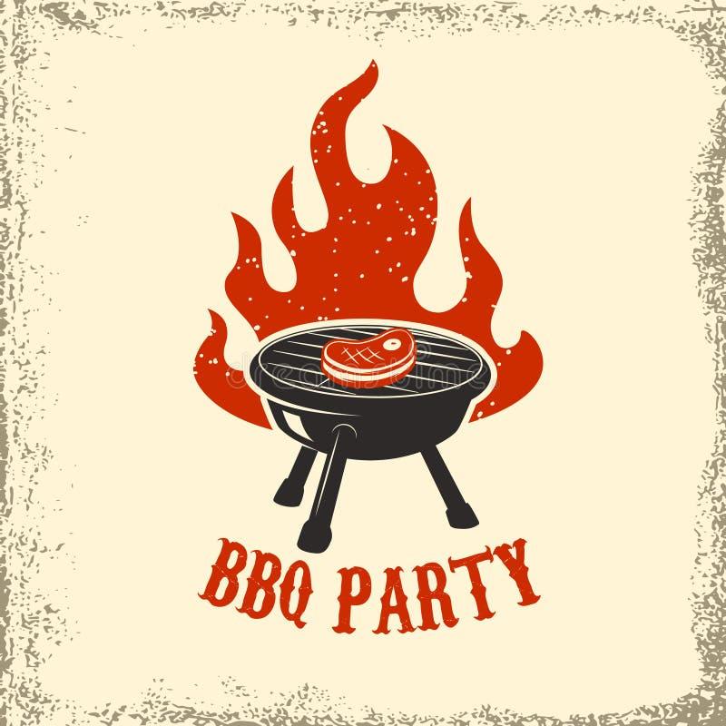 Partido del Bbq Parrilla con el fuego en fondo del grunge Elemento del diseño stock de ilustración