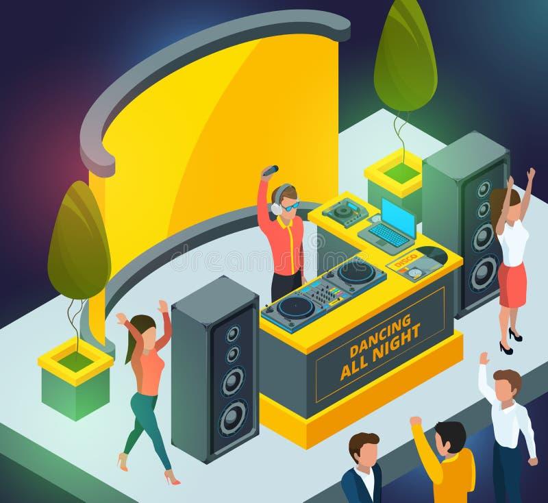 Partido del concierto o del club Escena con los instrumentos musicales y la disposición de DJ ilustración del vector
