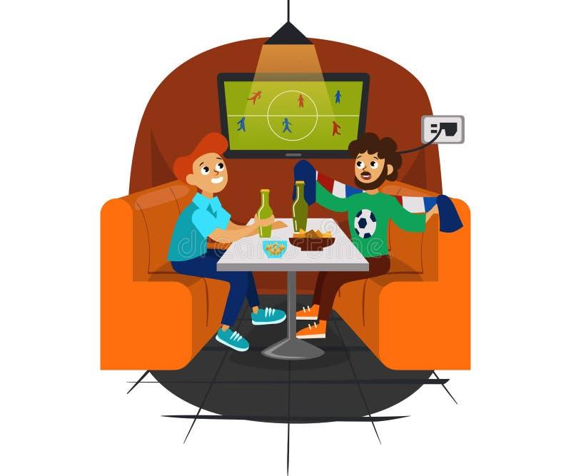 Partido del fútbol de la historieta en la barra con la cerveza y el bocado libre illustration