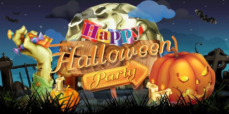 Partido del feliz Halloween stock de ilustración