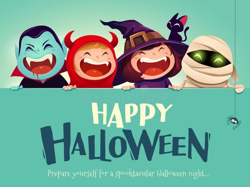 Partido del feliz Halloween Grupo de niños en el traje de Halloween con el letrero grande libre illustration