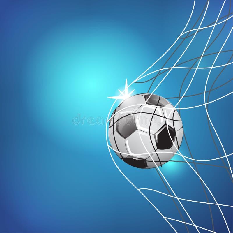 Partido del juego de fútbol Momento de la meta Bola en la red EJEMPLO DE LA PLANTILLA EN FONDO AZUL ilustración del vector
