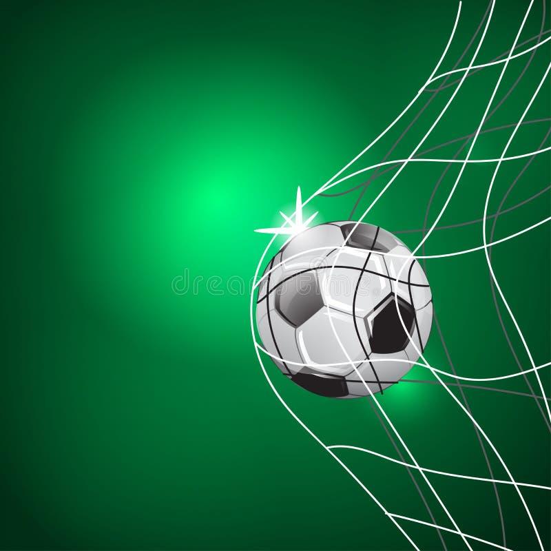 Partido del juego de fútbol Momento de la meta Bola en la red EJEMPLO DE LA PLANTILLA EN FONDO VERDE stock de ilustración