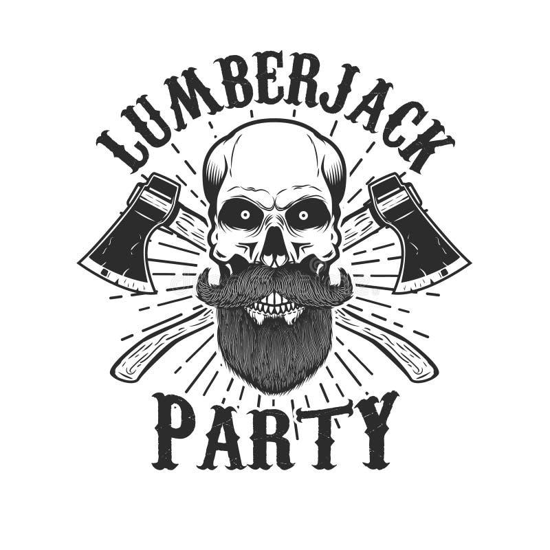 Partido del leñador Cráneo barbudo con las hachas cruzadas Diseñe el elemento para el logotipo, etiqueta, emblema, muestra ilustración del vector