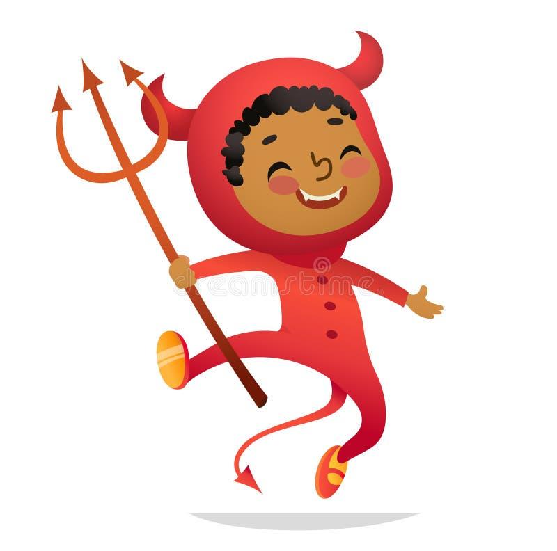 Partido del traje de los niños de Halloween Muchacho afroamericano en traje del diablo de Halloween que ríe y que baila Vector de stock de ilustración