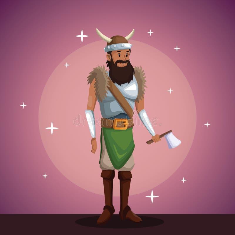 Partido del traje del hombre de Viking en fondo del proyector con brillante libre illustration