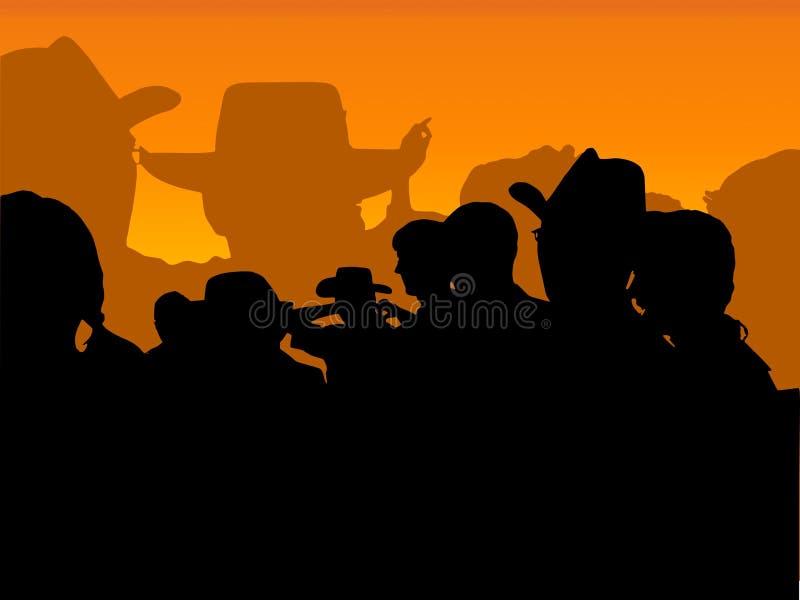 Partido del vaquero: anaranjado stock de ilustración