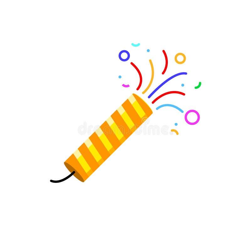 Partido del vector del icono del petardo Tostador de palomitas de maíz plano del logotipo de la sorpresa del cumpleaños, festival ilustración del vector