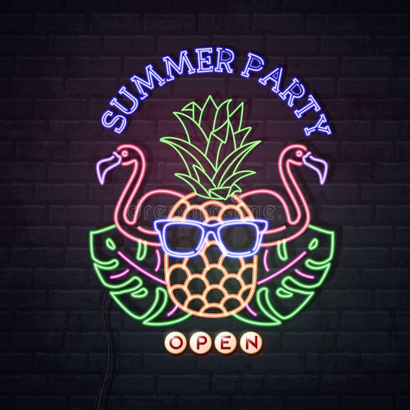 Partido del verano de la señal de neón con las hojas, el flamenco y la piña tropicales fluorescentes Letrero el?ctrico del vintag ilustración del vector