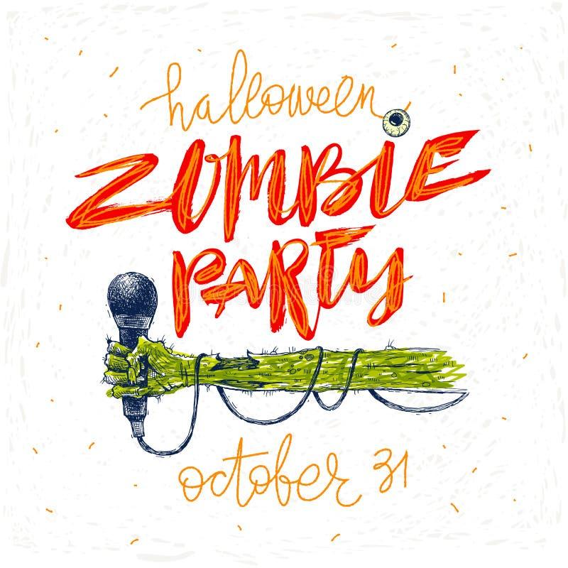 Partido del zombi - ejemplo Tarjeta, cartel o invitación de felicitación de Halloween con el ejemplo y la caligrafía dibujados ma ilustración del vector