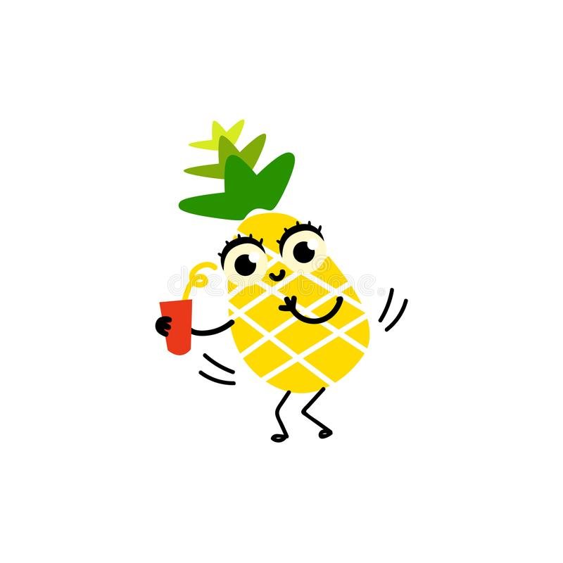 Partido divertido plano del carácter de la fruta de la piña del vector libre illustration