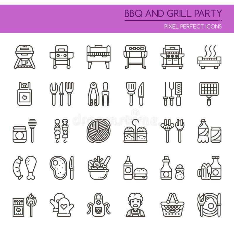 Partido do BBQ e da grade ilustração royalty free