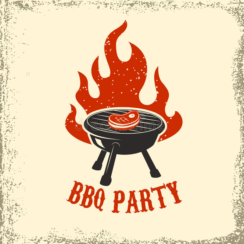 Partido do BBQ Grade com fogo no fundo do grunge Elemento do projeto ilustração stock